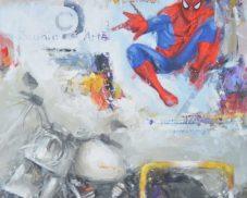 Spiderman, Tex, Zagor, Diabolik, Corto Maltese ed altri eroi nelle tele di Giuliano Trombini